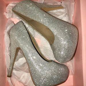 Silver Sparkly Platform Heels!